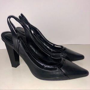 Diane Von Furstenburg Black Leather Pumps Size 9.5